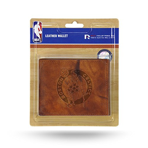 NBA Rico Industries Embossed Leather Billfold Wallet with Man Made Interior, Boston Celtics
