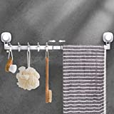 LUXEAR Suction Cup Towel Bar, 24 inches Adjustable Towel Rack Holder, No Drill & Removable Bathroom Towel Holder with 5 Sliding Hooks, Wall Mounted Towel Hanger for Shower Room, Kitchen, Door, White