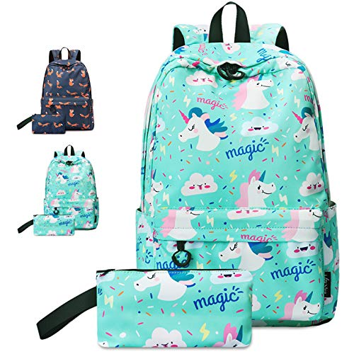 VentoMarea Unicorn Teen Girls School Backpack Set College High School Student Bookbags Lightweight Travel Laptop Daypack with Pencil Pouch