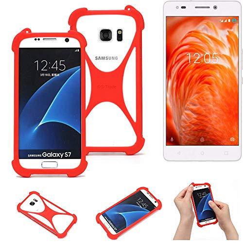 K-S-Trade® Handyhülle Für BQ Aquaris M 2017 Schutzhülle Bumper Silikon Schutz Hülle Cover Case Silikoncase Silikonbumper TPU Softcase Smartphone, Rot (1x)