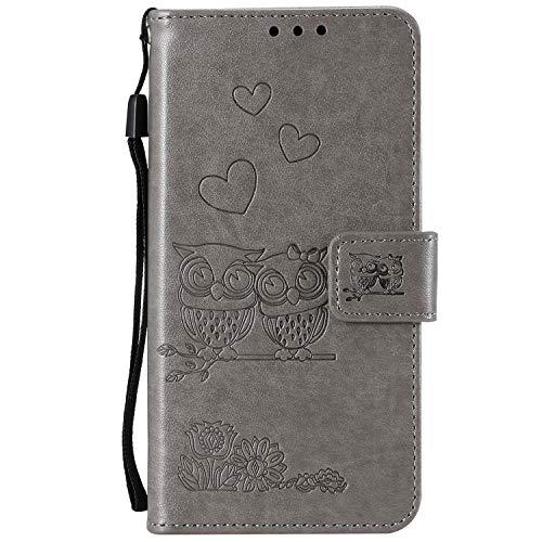 Homikon 3D PU Leder Hülle Eule Muster Schutzhülle Brieftasche Ledertasche Handyhülle Kartensteckplatz Ständer Klapphülle Etui Flip Wallet Case Cover Kompatibel mit Samsung Galaxy S5 - Grau