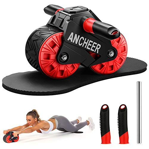 SIMPFREE Ab Roller for Abs workout, Ab Wheel Roller with Knee Pad Mat and Intelligent Display , Fitness Ab Carver Pro Roller with Automatic Rebound , Ab Workout Equipment for Abdominal Exercise