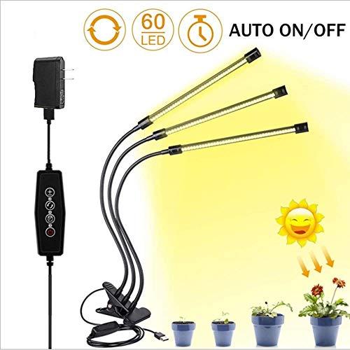 Dpliu Gute Qualität LED DREI-Kopf-Clip-Lampe USB-Controller-Vollspektrum-Zusatzlampe, Dimmen-Timing-Anlage wachsen Lampe, Köpfe Schwanenhals Vollspektrum LED-Anlage Leben
