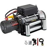 OldFe Elektrische Seilwinde 12V, Elektrische Winde 13500lbs / 6123,5 kg, Elektrische Motorwinde 6,5 PS, Drahtseil Motorwinde mit Funkfernbedienung
