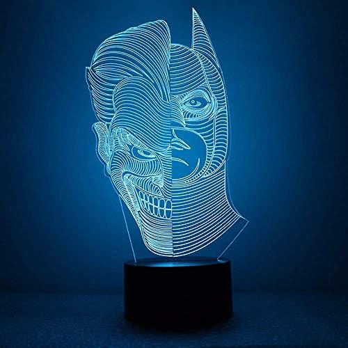 Hero Cartoon bat 3D luz de noche para niños, niñas, regalo, lámpara de ilusión 3D para el dormitorio al lado de la mesa, lámpara de mesa de escritorio con 16 colores cambiantes, regalo para niños