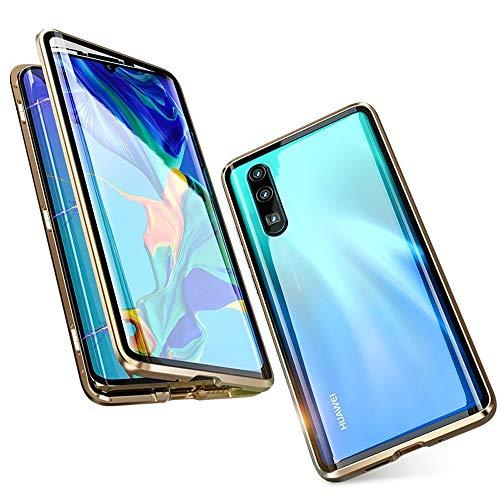 Jonwelsy Hülle für Huawei P20 Pro, Magnetische Adsorption Metall Stoßstange Flip Cover mit 360 Grad Schutz Doppelte Seiten Transparent Gehärtetes Glas Handyhülle für Huawei P20 Pro (Gold)