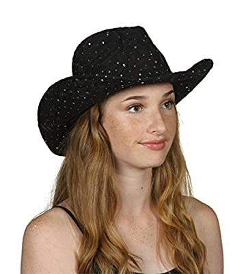 TOP HEADWEAR TopHeadwear Glitter Sequin Trim Cowboy Hat - Black