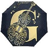 Ombrello da auto pieghevole da 3 pieghe con apertura automatica nota musicale vintage antivento per chitarra