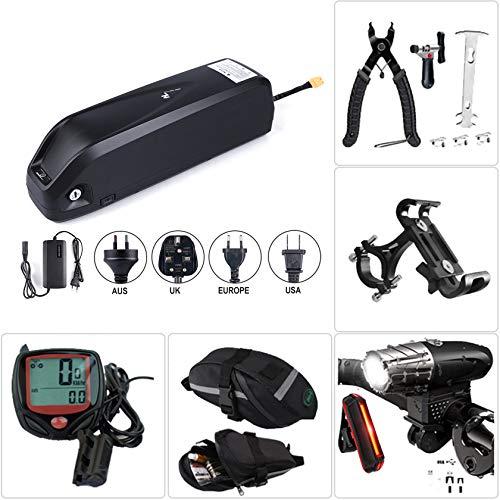 Batería de bicicleta Batería de iones de litio de litio con cargador,batería de bicicleta eléctrica Juego de faros y luces traseras de carga USB, herramienta de extracción, bolsa de alforja,52V10.4Ah