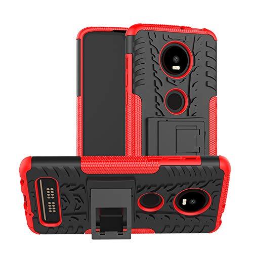 TiHen Handyhülle für Motorola Moto Z4 Play Hülle, 360 Grad Ganzkörper Schutzhülle + Panzerglas Schutzfolie 2 Stück Stoßfest zhülle Handys Tasche Bumper Hülle Cover Skin mit Ständer -rot