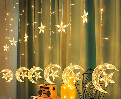 Lumières solaires en Plein air, 12 étoiles 138pcs LED Star Window Lights avec 8 Modes alimentés par Batterie LED Star Curtain Lights Courtyard, Parties, Patio