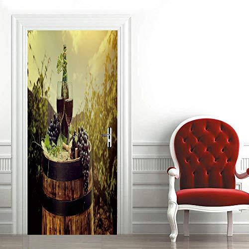 Papel Pintado Puertas Autoadhesivo 88x200cm vino Puerta Pegatinas Mural Etiqueta de puerta Foto 3D Door Sticker Wallpaper Desmontable Sticker Poster DIY Art Decoration