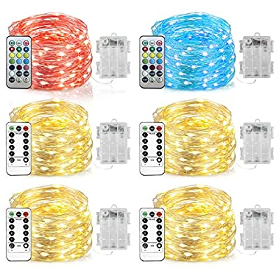 Homemory 6 Pack LED Fairy Lights, 20ft 60LEDs Battery Powered Multicolor Changing String Lights with Remote Waterproof Silver Wire Christmas Lights for Bedroom, Indoor Decoration-13 Colors