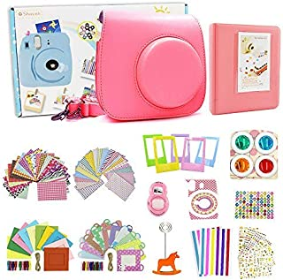Instax Mini 9 Camera Accessories for Fujifilm Mini 9 Instant Camera Includes Instax Mini 9 Case/Photo Album/Selfie Lens/Color Filters/Wall Hang Frames/Film Stand (Flamingo Pink) …
