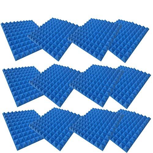 Akustik Schaumstoff, 12 Stücke Akkustik Platten Akustikschaumstoff Noppenschaumstoff Foam Schaum Fliesen Schall Dämmung Wanddeko Breitbandabsorber Decke für Hause Studio (Blau)
