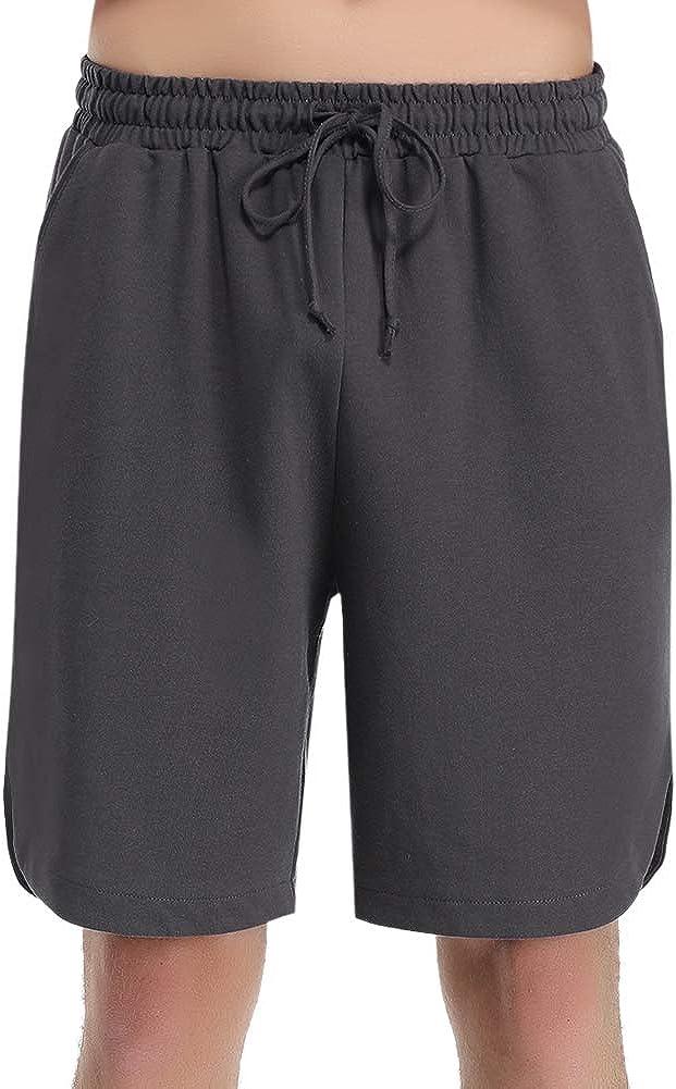iClosam Mens Pyjama Shorts Pj Bottoms 100/% Cotton Casual Jogging Pants Sweat Jersey Trousers Loungewear Lounge Shorts with Pockets