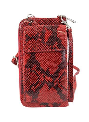 irisaa Bolso pequeño de piel para mujer, bolso bandolera de hombro, bolso cruzado de piel, monedero, teléfono móvil, correa ajustable, multifunción., color Rojo, talla Einheitsgröße