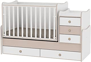 Lit bébé évolutif/ combiné Maxi Plus blanc/chêne Lorelli (Le lit se transforme en lit d'adolescent, bureau, armoire multif...