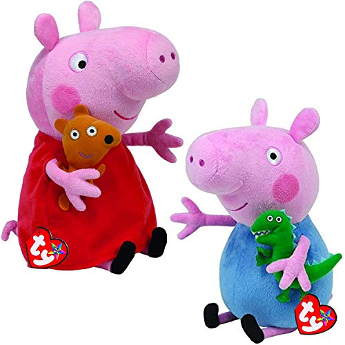 TY_UK Ty Beanie Babies - Peppa & George Buddy Combo 25cm (Both Supplied)