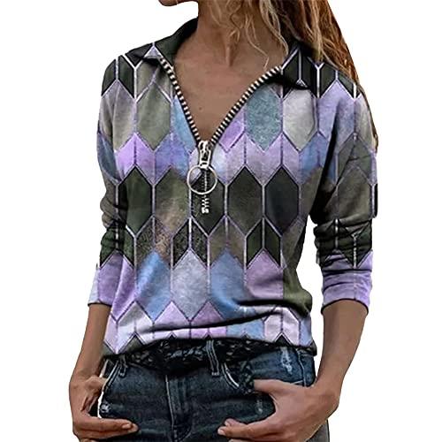 PRJN Tops para Mujer Camisetas Sexis Camisetas de Manga Larga con Cremallera Jerséis Blusas Casuales Tops de túnica Blusa de Gasa con Cuello en V Sexy para Mujer Blusa de Manga Larga con Cremallera
