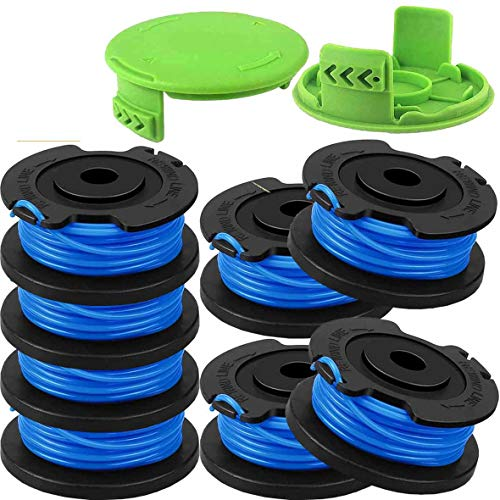0.065' Line Auto-Feed String Replacement Trimmer Spool 29092 for Greenworks Weed Eater String 24V and 40V Trimmer,Cordless Edger Spool Refills Parts, 16ft 0.065 Inch Single Line(8 Spools,2 Cap)