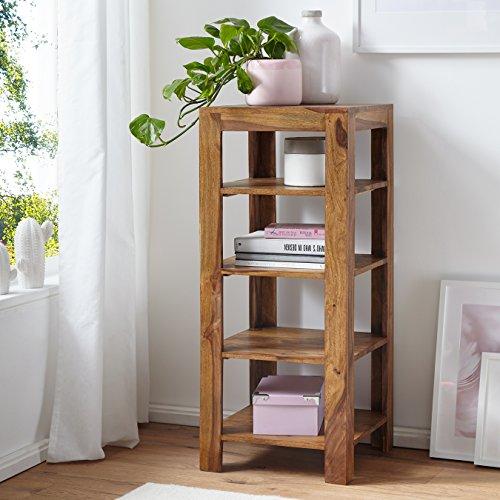 FineBuy Standregal Massiv-Holz Sheesham 105 cm Wohnzimmer-Regal mit 4 Ablagefächer Design Landhaus-Stil Beistelltisch...