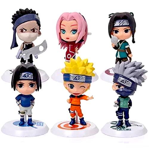 Naruto Cake Topper - 6 pcs Naruto Mini Juego de Figuras,Acción Figuras Modelo Muñecas Mini Muñeca de Naruto,Niños Baby Shower Fiesta de cumpleaños Pastel Decoración Suministros