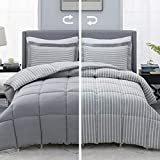 Bedsure Grey Queen/Full Comforter Set - 3 Piece Reversible Percale Stripes Hypoallergenic Down Alternative Box Stitching Duvet Insert with 8 Corner Tabs - All Season Bed Set with 2 Pillow Shams