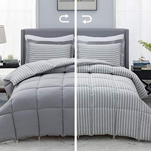 Bedsure Grey Queen/Full Comforter Set - 3 Piece Reversible Percale...