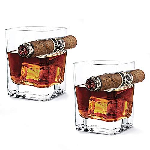 AIKASA - Bicchiere da whisky con porta sigari, realizzato a mano, in cristallo vintage, quadrato, per vino e brandy, 2 pezzi (320 ml)
