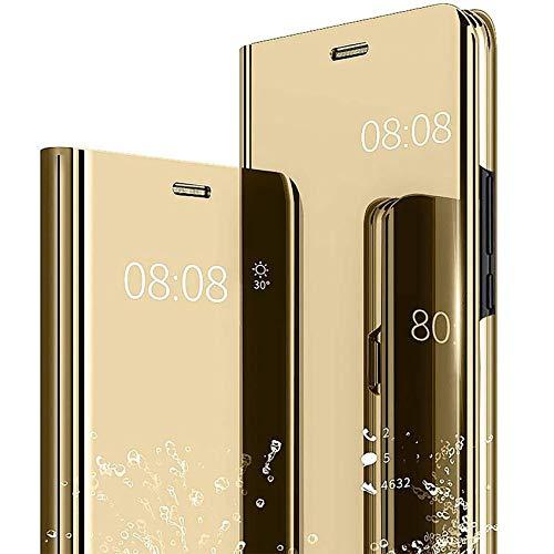 TOPOFU Sony Xperia 5 II Hülle,Transparent Flip Spiegel Schutzhülle Kratzfest Stoßfest Handyhülle mit Ständer Funktion Protective Hülle für Sony Xperia 5 II-Gold