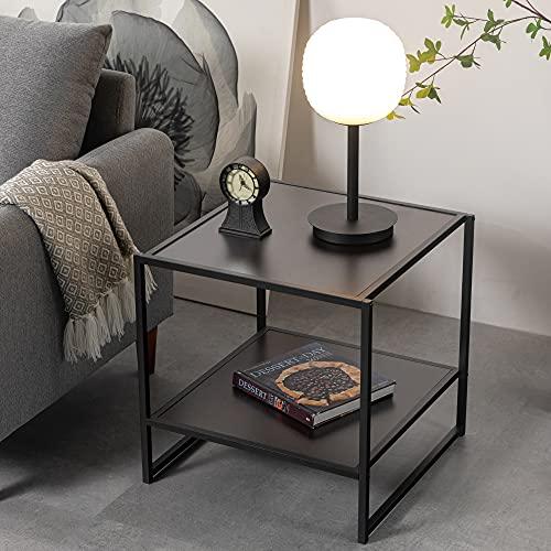 ZINUS Dane 20 Inch Black Frame Side Table / End Table / Easy Assembly, Rich black wood grain (Espresso)