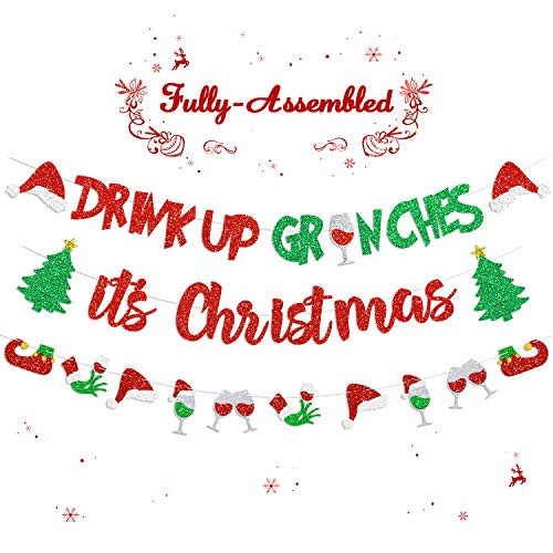 Christmas Banners Drink Up Grinches It's Christmas Garland for Grinches Themed Merry Grinchmas Friendsmas Naughty Or Nice Party Decorations