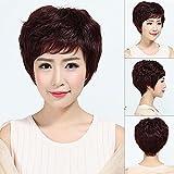 peluca mujer pelo corto pelo corto y rizado cabello humano moda señoras de mediana edad y ancianas peluca natural esponjosa set-1