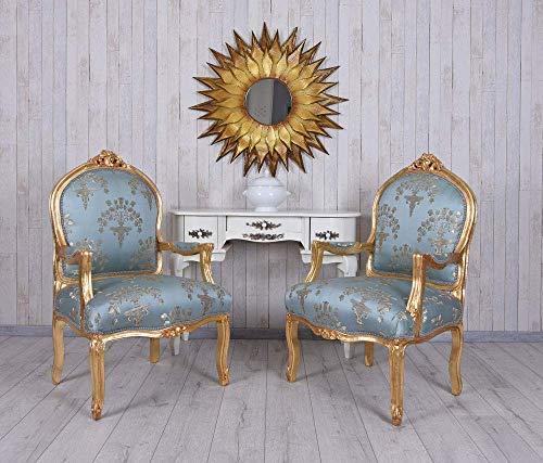 Kaminsessel Barocksessel Antik Armlehnstuhl 2 Stück Sessel Gold Barock Stuhl cat391a13 Palazzo Exklusiv