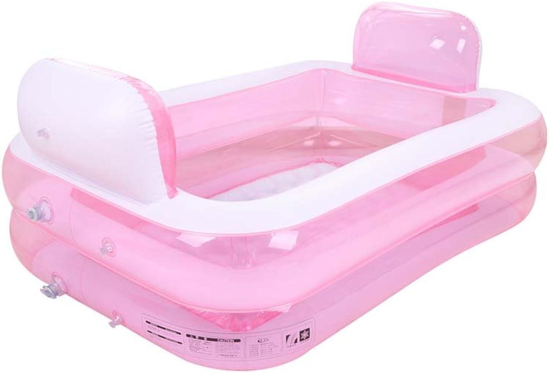 Inflatable Bathtub Adult Portable,Folding Comfortable Bath,Home Spa Massage Quality Tub Soaking Baths Inflatable Pools- Thick PVC,Pink