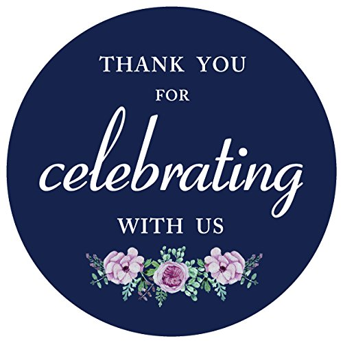 "80 pack- 2"" navy blue floral thank you for celebrating with us label stickers, thank you sticker labels"