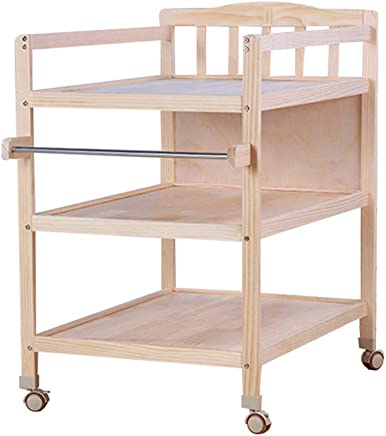 LNDDP Wooden Children Changing Station Diaper Table with Wheels  Infant Toddler Dressers Organizers for 0-3 Years Old Baby
