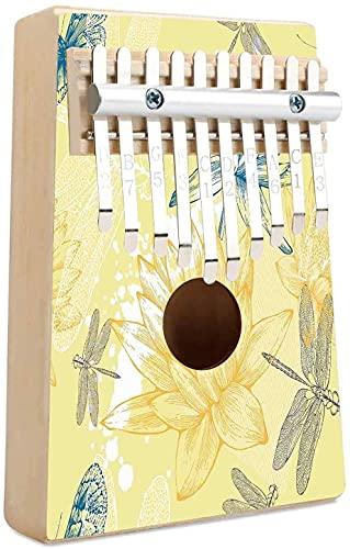 Dragonfly Kalimba 10 teclas Piano de pulgar Mariposa Libélula Paisley Motivos complejos con diversas líneas Imagen artística Mbira Piano de dedo Regalo para niños Adultos Principiantes Profesional Mu