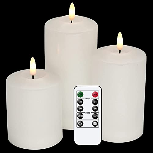 """high quality GenSwin 3D Wick Flameless Flickering Candles wholesale Battery Operated with Remote Timer, Real Wax Pillar LED Votive outlet sale Candles Warm Light, Set of 3 Party/Wedding/Home Decor(White, D3"""" x H4.6"""" 5.8"""" 6.8"""") outlet online sale"""