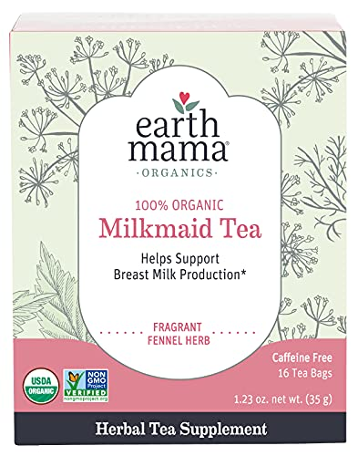 Earth Mama Organic Milkmaid Tea Supports Healthy Breastmilk Production and Lactation, Herbal Breastfeeding Tea Supplement, Fennel Herb, 16 Count