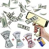 Money Gun Shooter Cash Cannon Super Gun Rainmaker Gun with 300 Prop Banknotes Funny Party Game Supplies