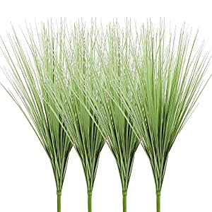 Ivalue 27″ Artificial Plants Onion Grass Greenery PVC Grass Stems Fake Wheat Grass Bushes Indoor Outdoor Home Garden Décor Pack of 4 (4, 27″)