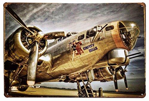 ERLOOD Military Airplane Tin Signs Retro Vintage Tin Sign 12X 8 Inches