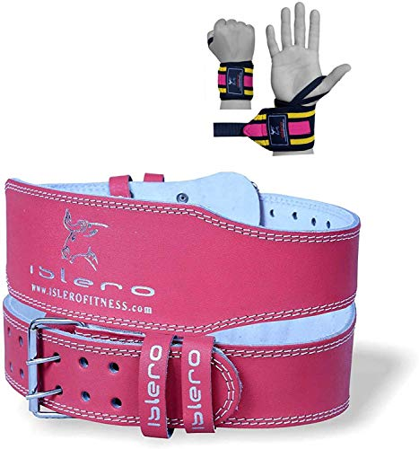 Islero Ladies Pink 4 Pure Leather Gym Belts Weightlifting Back Support Strap Bodybuilding Wraps X Large