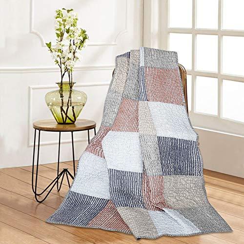 Quilt Tagesdecke Decke - 127 x 152 cm Mehrfarbige Reine Baumwolle Karierte Gesteppte Patchwork Vintage Indian Throw warme & weiche dekorative Reversible ethnische Plaid Decke für Bett & Sofa