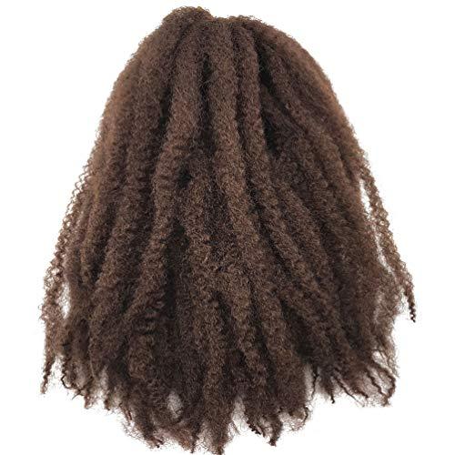 Coolbers 18 pouces Afro KinkyCurly Crochet Braids cheveux synthétiques Marley Braid Jerry Curls Crochet Extensions de cheveux Crochet Brown tressage cheveux (18 pouces, 30)