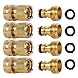 Katigan 4 Conjunto Manguera de JardíN Conectores RáPidos LatóN 3/4 Pulgadas Rosca GHT Accesorios de FáCil ConexióN Manguera de Agua Macho Hembra