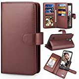 TILL for LG Stylo 3 / LG Stylo 3 Plus Case, TILL LG Stylus 3 Wallet Case PU Leather Carrying Flip Cover [Cash Credit Card Slots Holder & Kickstand] Detachable Magnetic Folio 3D Full Case Shell [Brown]