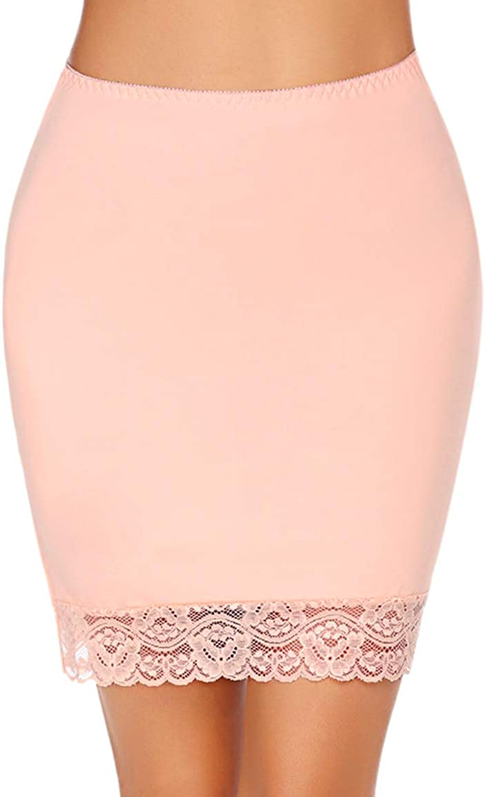 Avidlove Half Slips for Women Underskirt Short Lace Trim Above Knee Half Slip